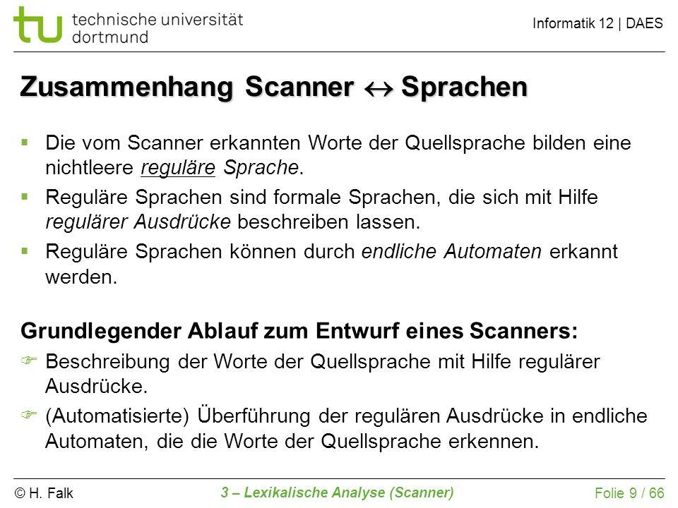 Zusammenhang Scanner  Sprachen