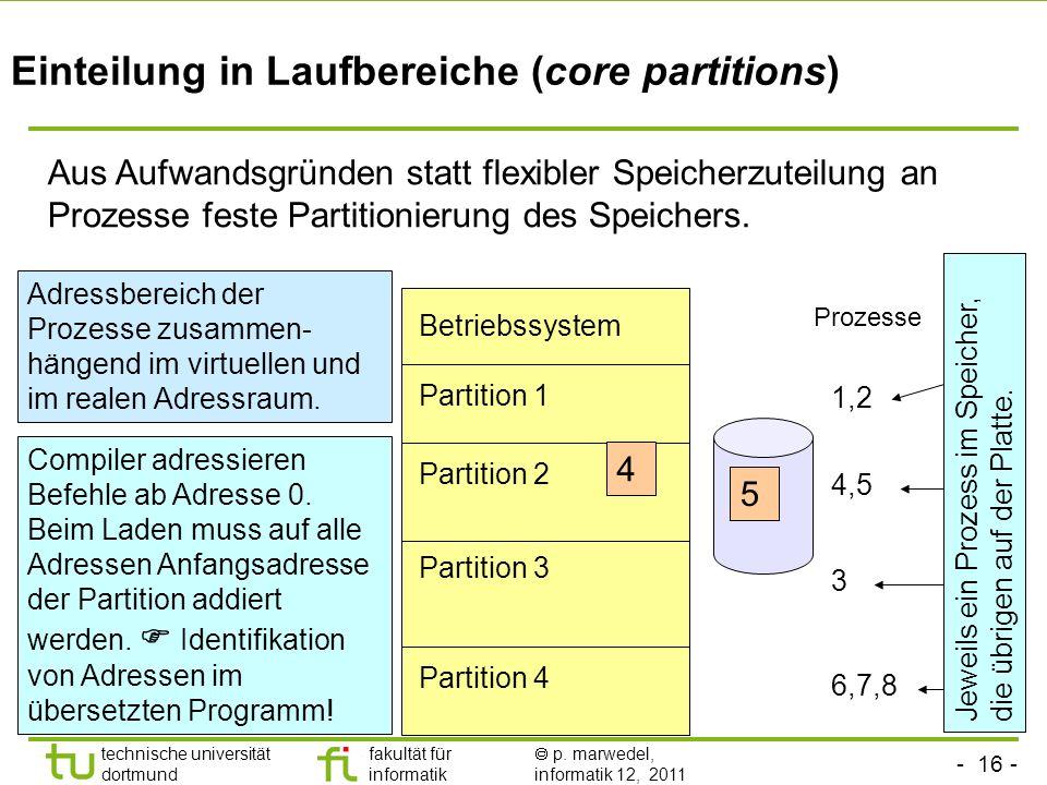 Einteilung in Laufbereiche (core partitions)
