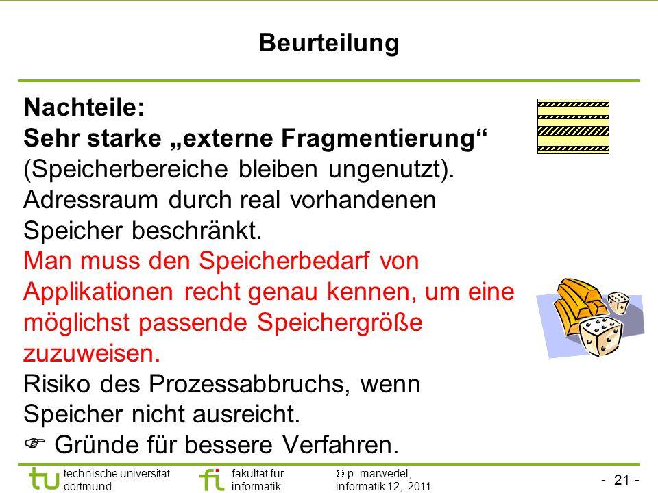 """Beurteilung Nachteile: Sehr starke """"externe Fragmentierung (Speicherbereiche bleiben ungenutzt)."""
