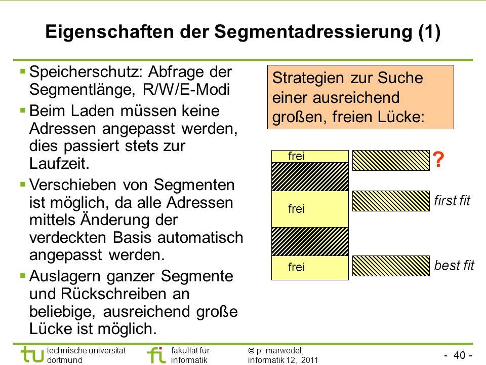 Eigenschaften der Segmentadressierung (1)
