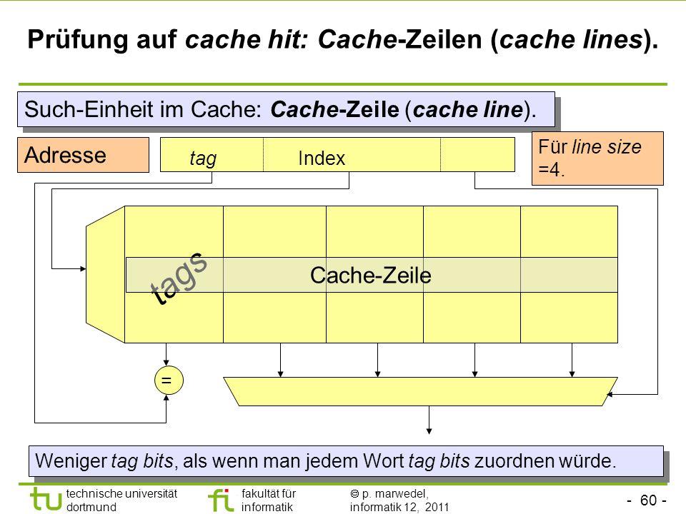 Prüfung auf cache hit: Cache-Zeilen (cache lines).