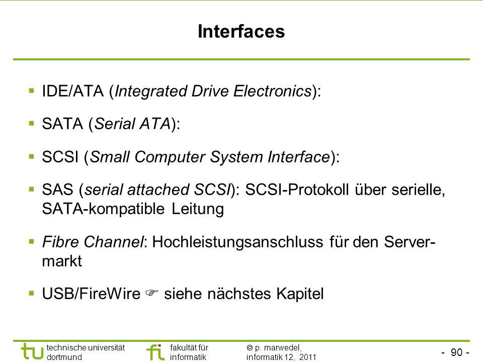 Interfaces IDE/ATA (Integrated Drive Electronics): SATA (Serial ATA):