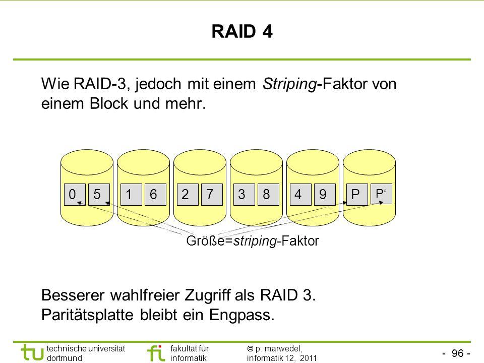 RAID 4 Wie RAID-3, jedoch mit einem Striping-Faktor von einem Block und mehr. 5. 1. 6. 2. 7. 3.