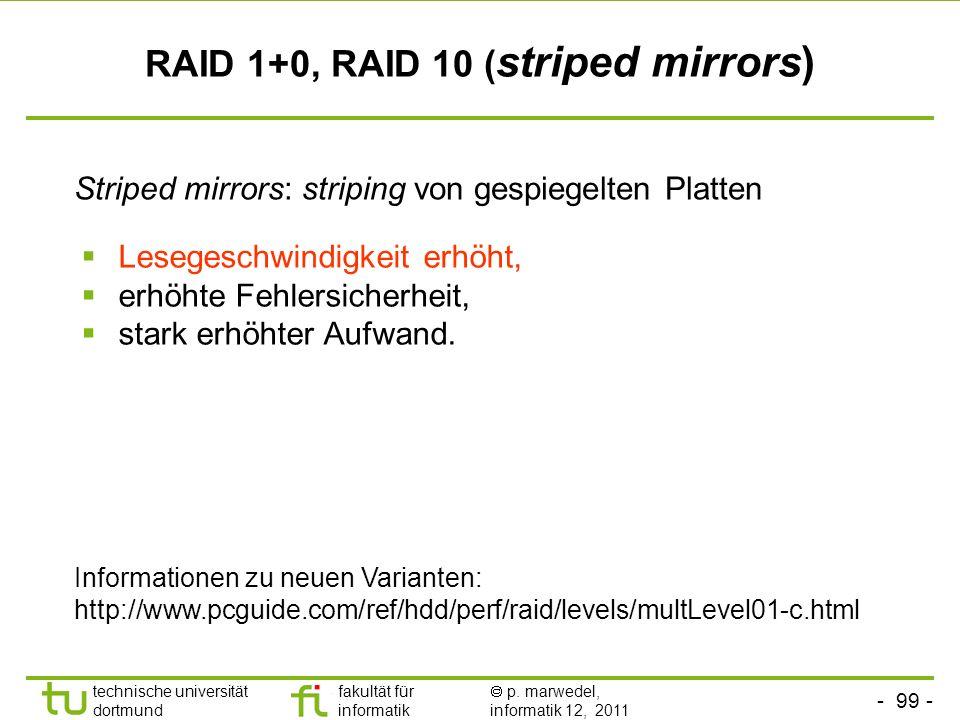 RAID 1+0, RAID 10 (striped mirrors)