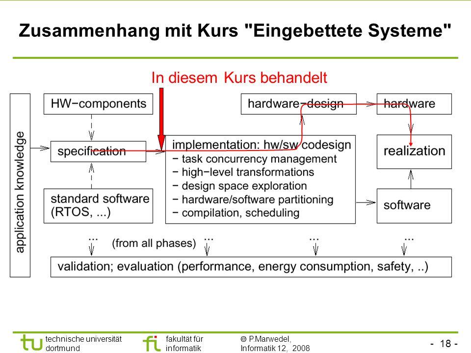 Zusammenhang mit Kurs Eingebettete Systeme