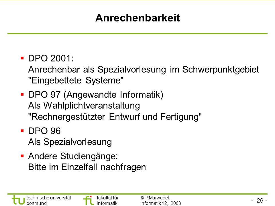 Anrechenbarkeit DPO 2001: Anrechenbar als Spezialvorlesung im Schwerpunktgebiet Eingebettete Systeme