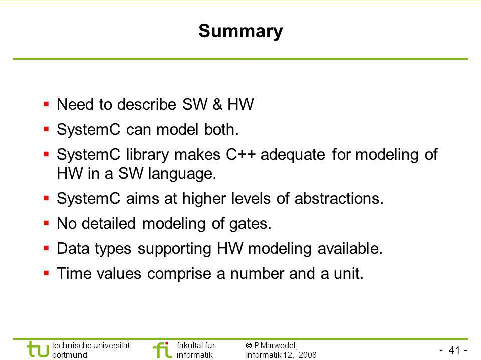 Summary Need to describe SW & HW SystemC can model both.