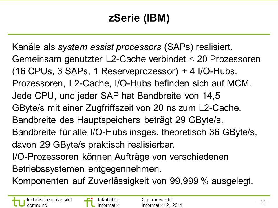 zSerie (IBM) Kanäle als system assist processors (SAPs) realisiert.