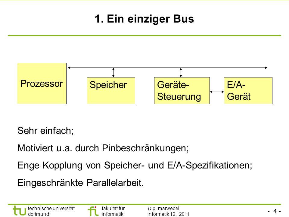 1. Ein einziger Bus Prozessor Speicher Geräte-Steuerung E/A-Gerät