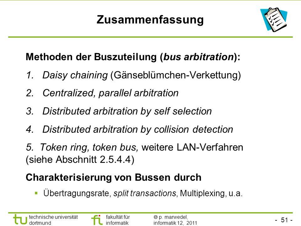 Zusammenfassung Methoden der Buszuteilung (bus arbitration):