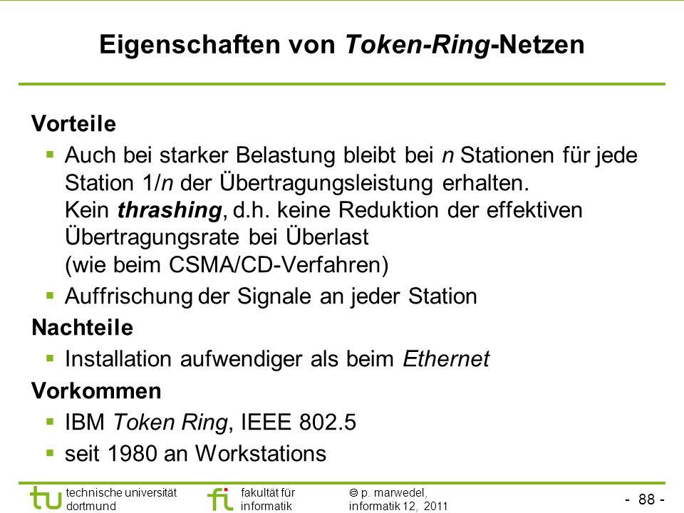 Eigenschaften von Token-Ring-Netzen