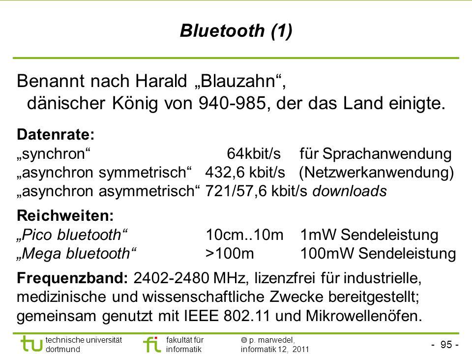 """Bluetooth (1)Benannt nach Harald """"Blauzahn , dänischer König von 940-985, der das Land einigte."""