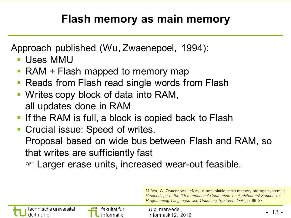 Flash memory as main memory