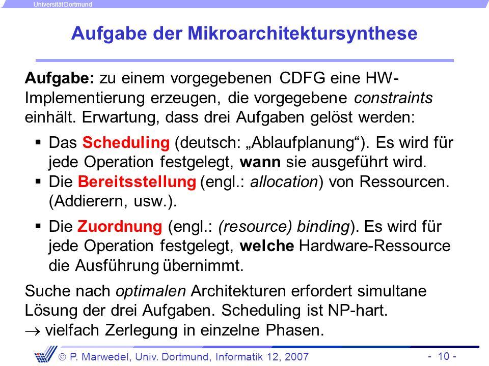 Aufgabe der Mikroarchitektursynthese