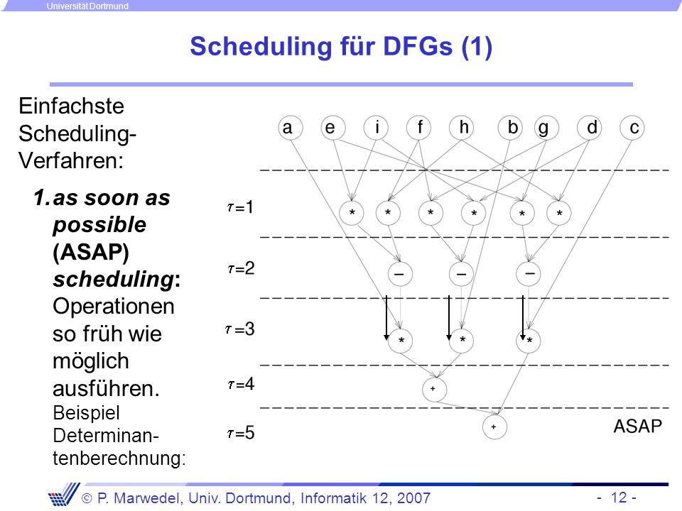 Scheduling für DFGs (1) Einfachste Scheduling-Verfahren:
