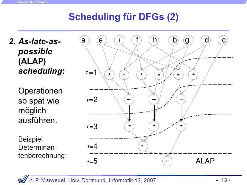 Scheduling für DFGs (2) As-late-as-possible (ALAP) scheduling: Operationen so spät wie möglich ausführen. Beispiel Determinan-tenberechnung: