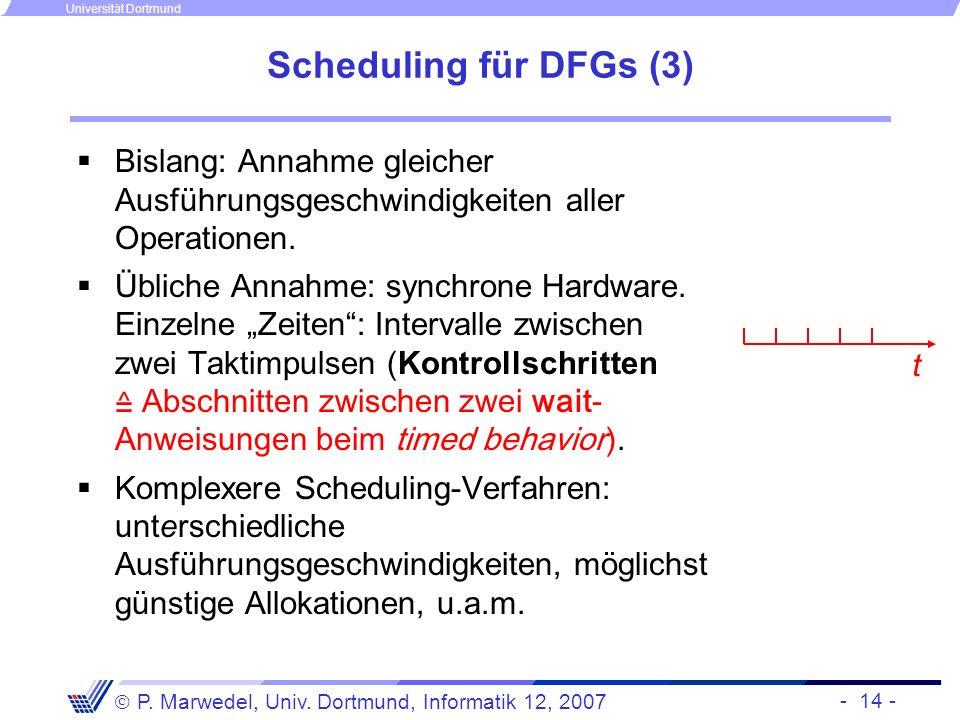 Scheduling für DFGs (3) Bislang: Annahme gleicher Ausführungsgeschwindigkeiten aller Operationen.