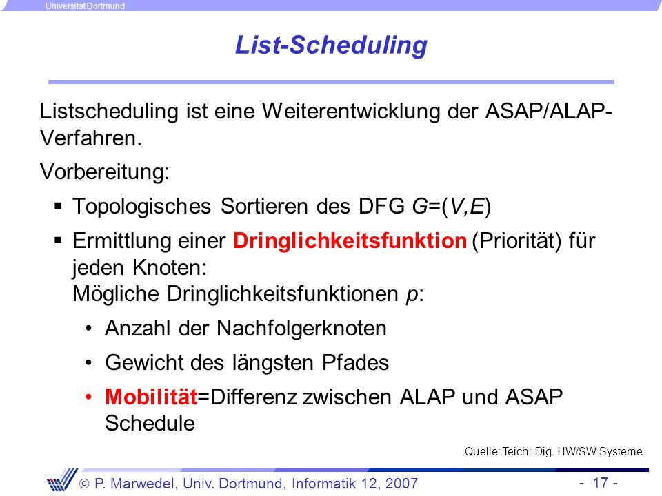 List-Scheduling Listscheduling ist eine Weiterentwicklung der ASAP/ALAP-Verfahren. Vorbereitung: Topologisches Sortieren des DFG G=(V,E)
