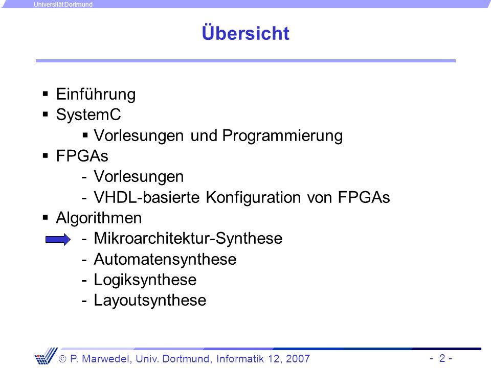 Übersicht Einführung SystemC Vorlesungen und Programmierung FPGAs