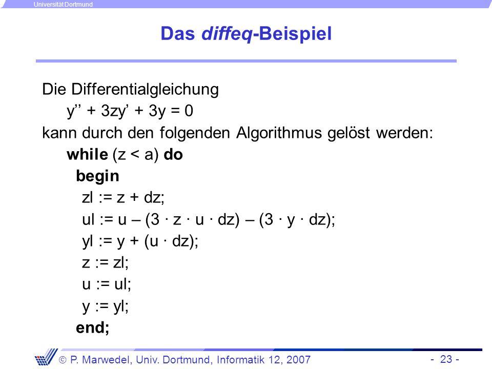Das diffeq-Beispiel Die Differentialgleichung y'' + 3zy' + 3y = 0