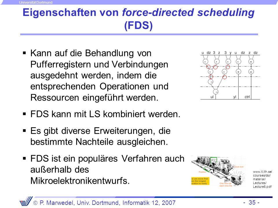 Eigenschaften von force-directed scheduling (FDS)