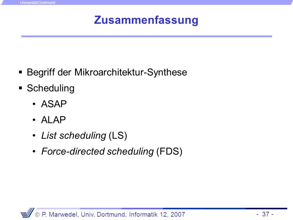 Zusammenfassung Begriff der Mikroarchitektur-Synthese Scheduling ASAP