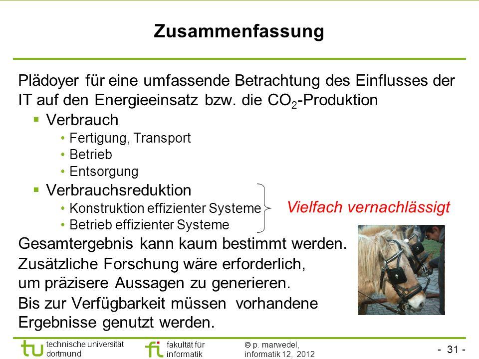 Zusammenfassung Plädoyer für eine umfassende Betrachtung des Einflusses der IT auf den Energieeinsatz bzw. die CO2-Produktion.