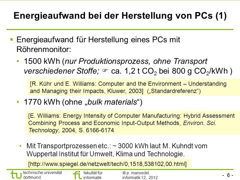 Energieaufwand bei der Herstellung von PCs (1)