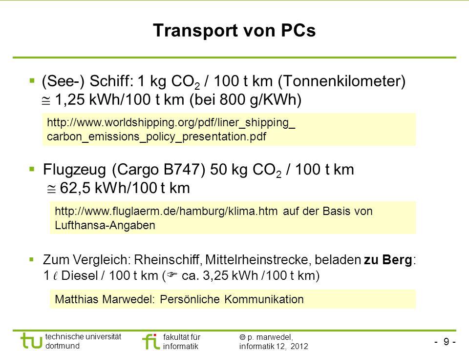 Transport von PCs(See-) Schiff: 1 kg CO2 / 100 t km (Tonnenkilometer)  1,25 kWh/100 t km (bei 800 g/KWh)