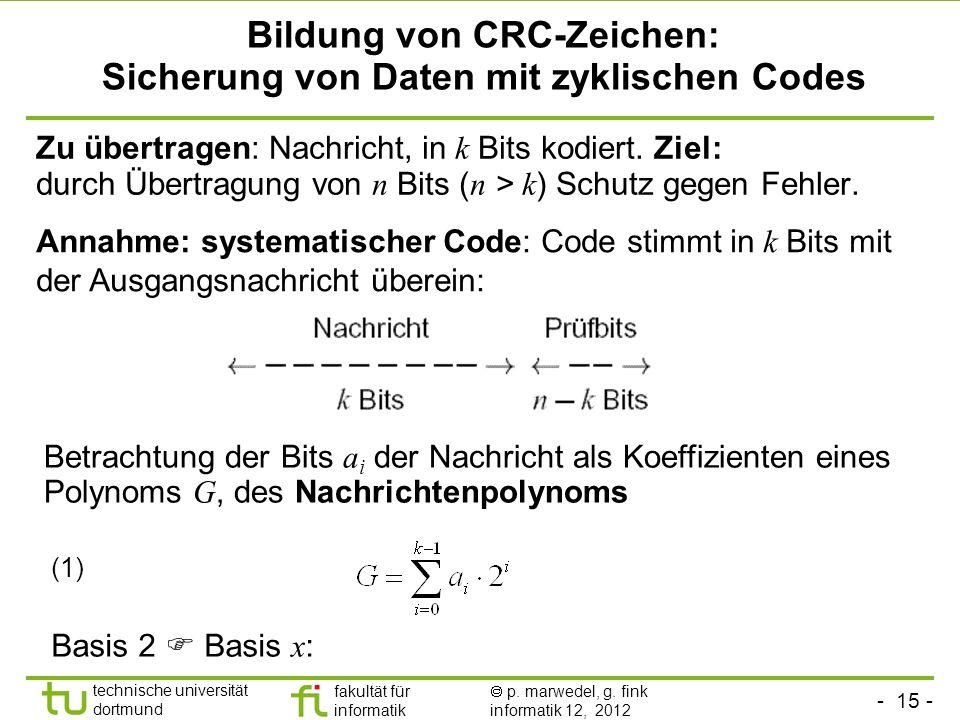 Bildung von CRC-Zeichen: Sicherung von Daten mit zyklischen Codes
