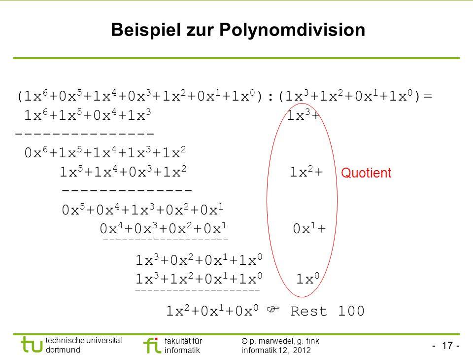 Beispiel zur Polynomdivision