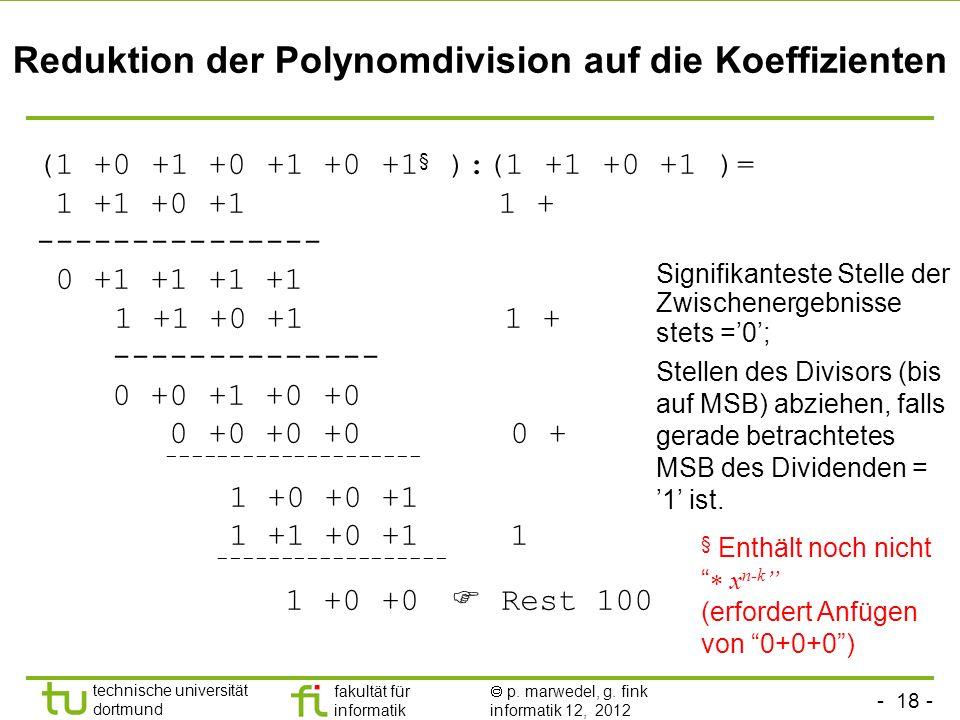 Reduktion der Polynomdivision auf die Koeffizienten