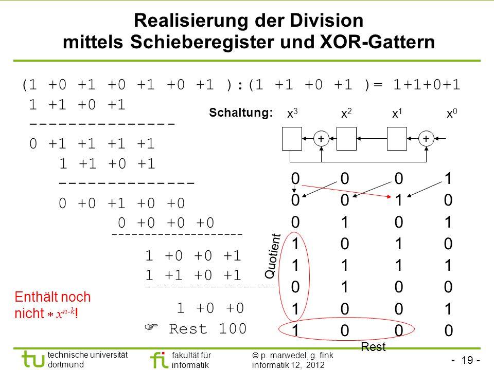 Realisierung der Division mittels Schieberegister und XOR-Gattern