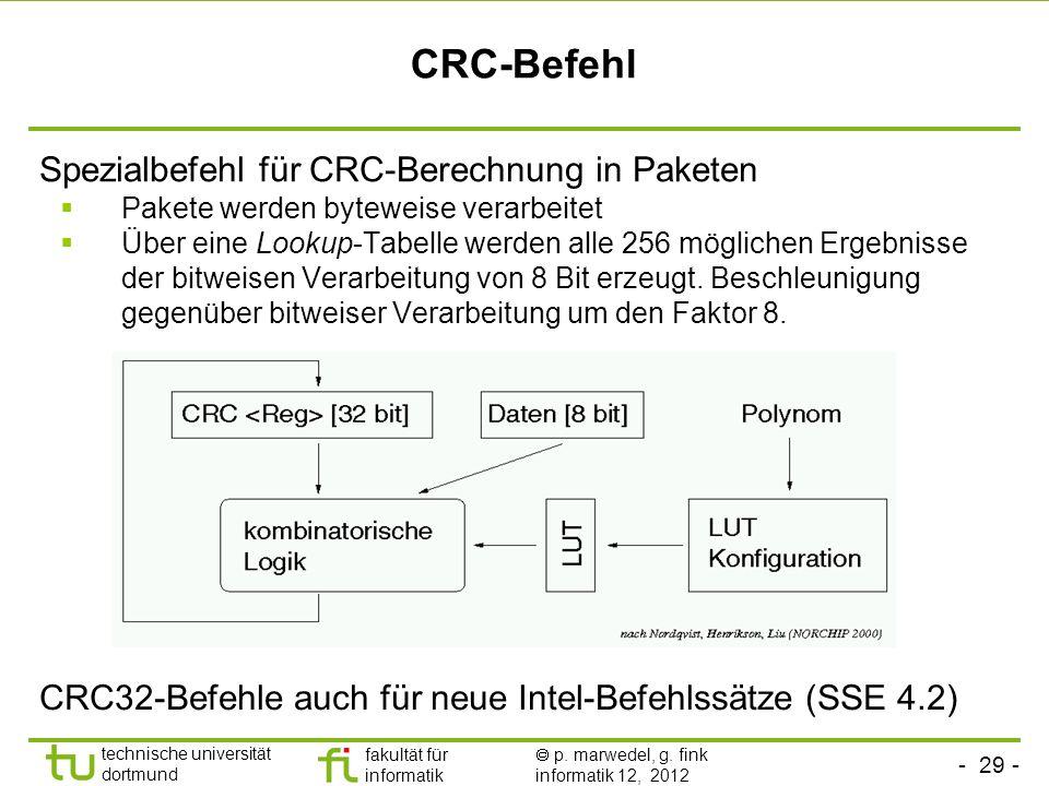 CRC-Befehl Spezialbefehl für CRC-Berechnung in Paketen