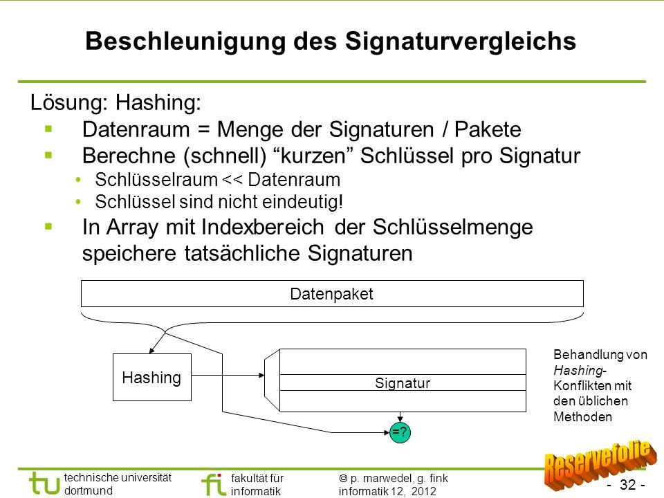 Beschleunigung des Signaturvergleichs