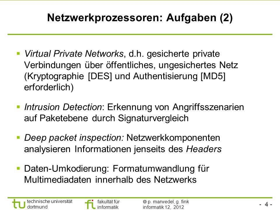 Netzwerkprozessoren: Aufgaben (2)