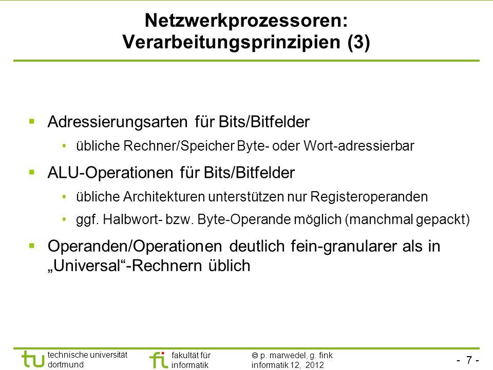 Netzwerkprozessoren: Verarbeitungsprinzipien (3)