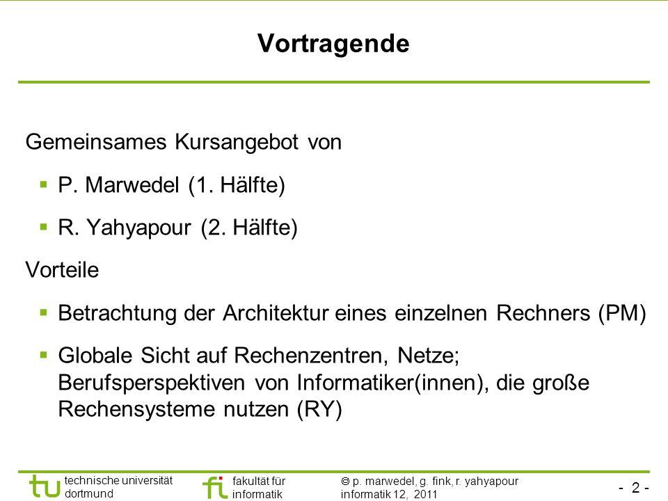 Vortragende Gemeinsames Kursangebot von P. Marwedel (1. Hälfte)
