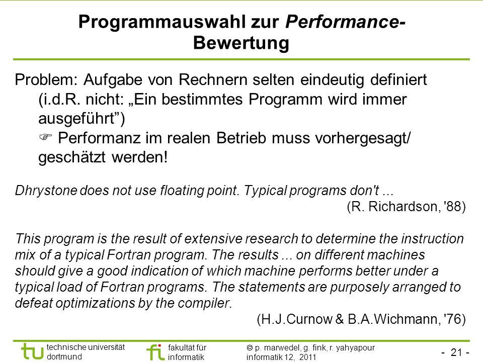 Programmauswahl zur Performance-Bewertung