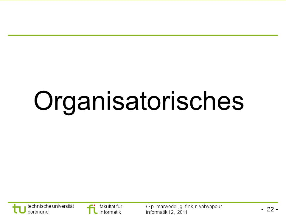 Organisatorisches
