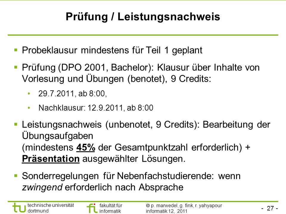 Prüfung / Leistungsnachweis