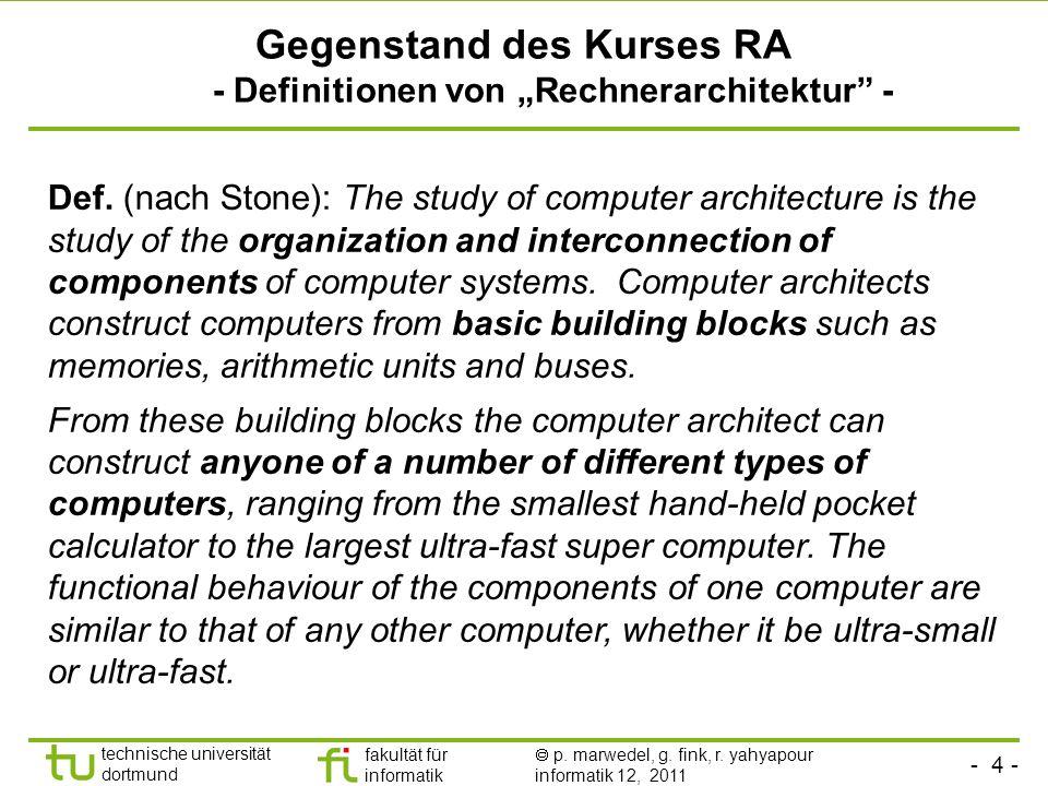 """Gegenstand des Kurses RA - Definitionen von """"Rechnerarchitektur -"""
