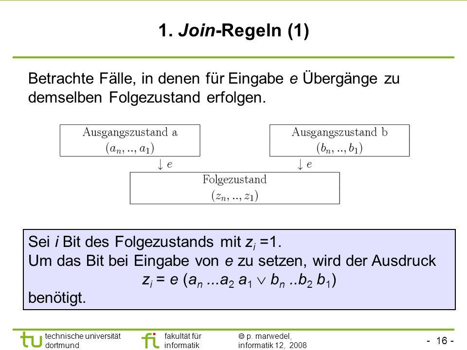 1. Join-Regeln (1) Betrachte Fälle, in denen für Eingabe e Übergänge zu demselben Folgezustand erfolgen.