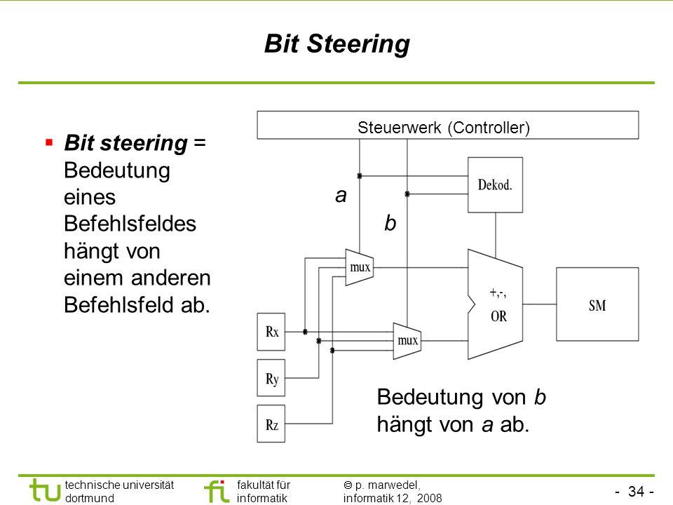 Bit Steering Steuerwerk (Controller) Bit steering = Bedeutung eines Befehlsfeldes hängt von einem anderen Befehlsfeld ab.