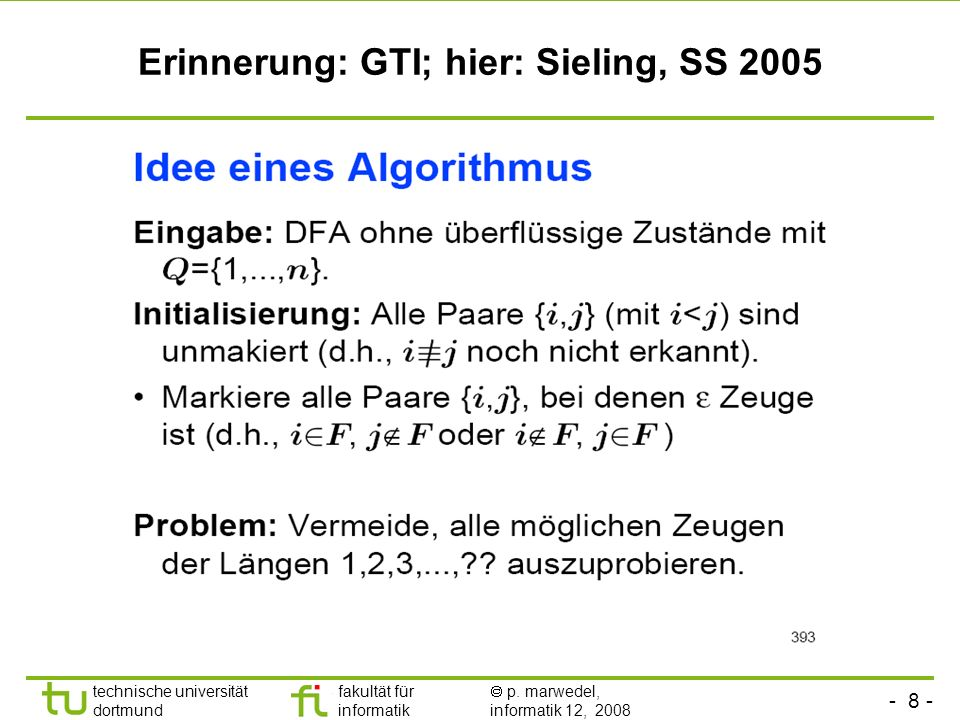 Erinnerung: GTI; hier: Sieling, SS 2005