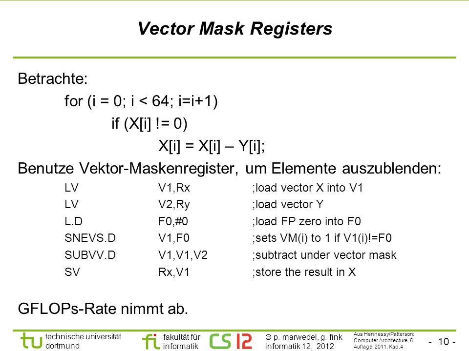 Vector Mask Registers Betrachte: for (i = 0; i < 64; i=i+1)