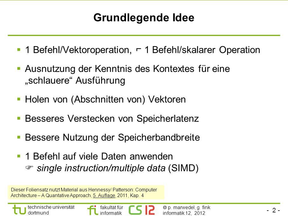 """Grundlegende Idee 1 Befehl/Vektoroperation, ⌐ 1 Befehl/skalarer Operation. Ausnutzung der Kenntnis des Kontextes für eine """"schlauere Ausführung."""