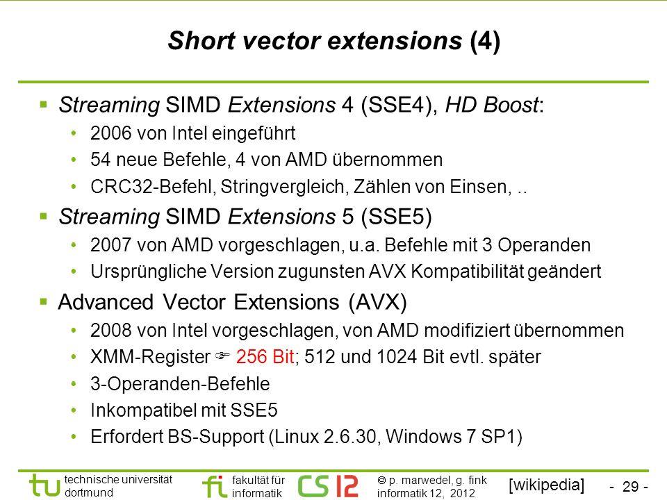Short vector extensions (4)