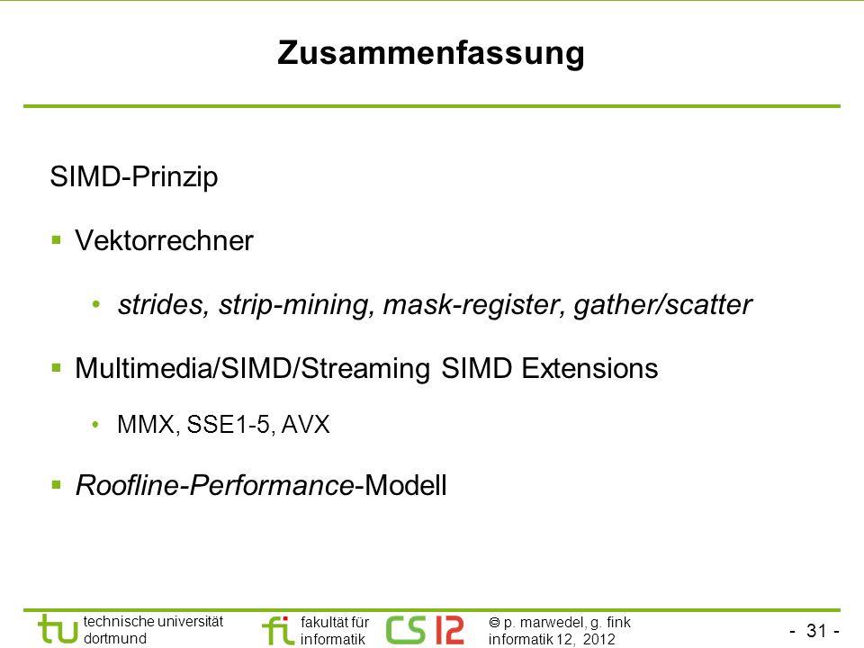 Zusammenfassung SIMD-Prinzip Vektorrechner