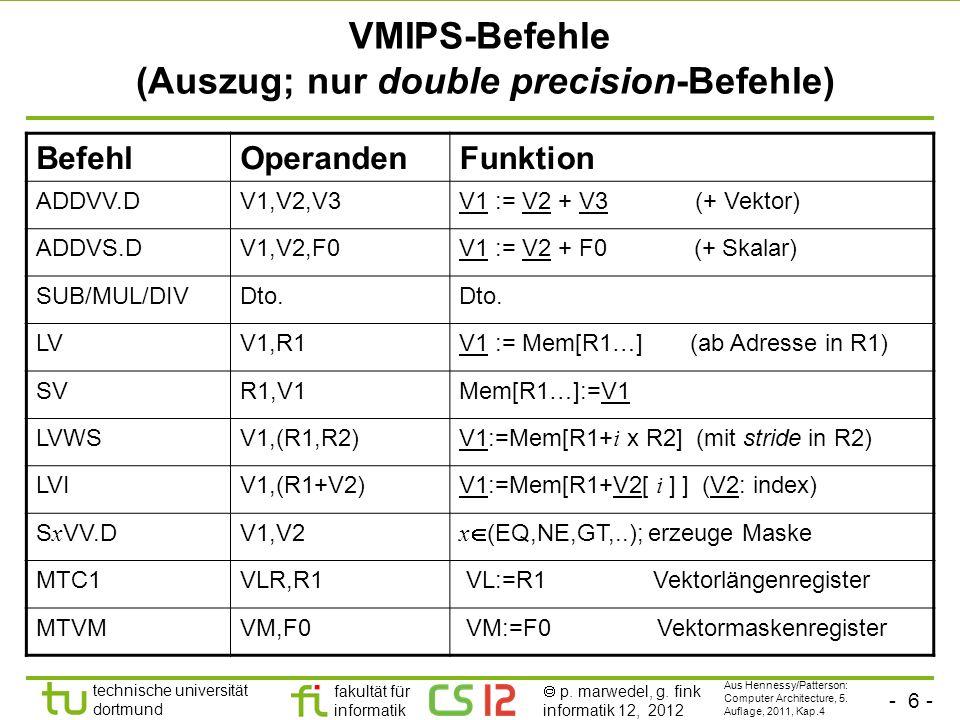 VMIPS-Befehle (Auszug; nur double precision-Befehle)